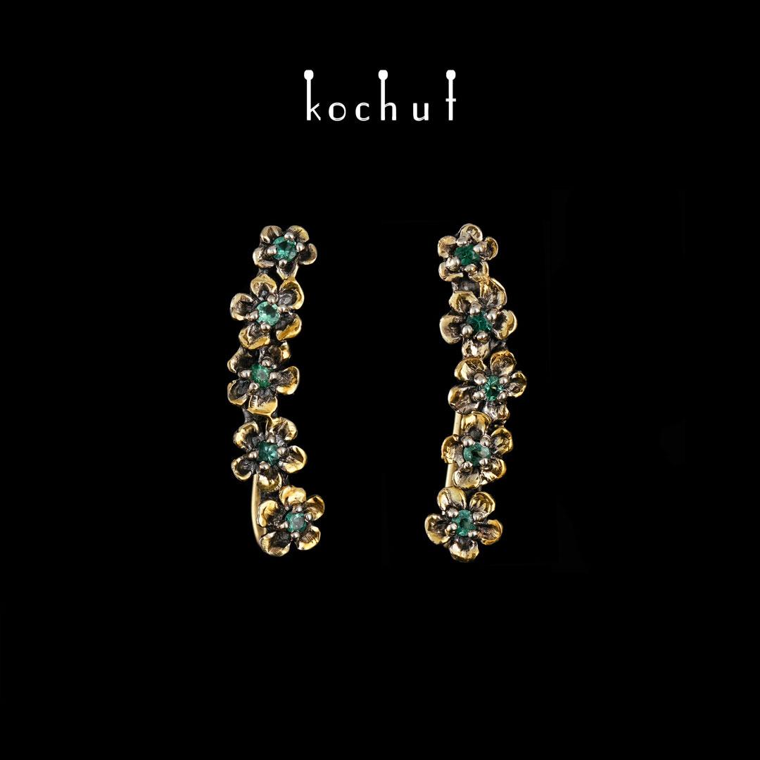 Cuffs «Flower». Silver, yellow gold, white rhodium, oxidation, gilding, emeralds