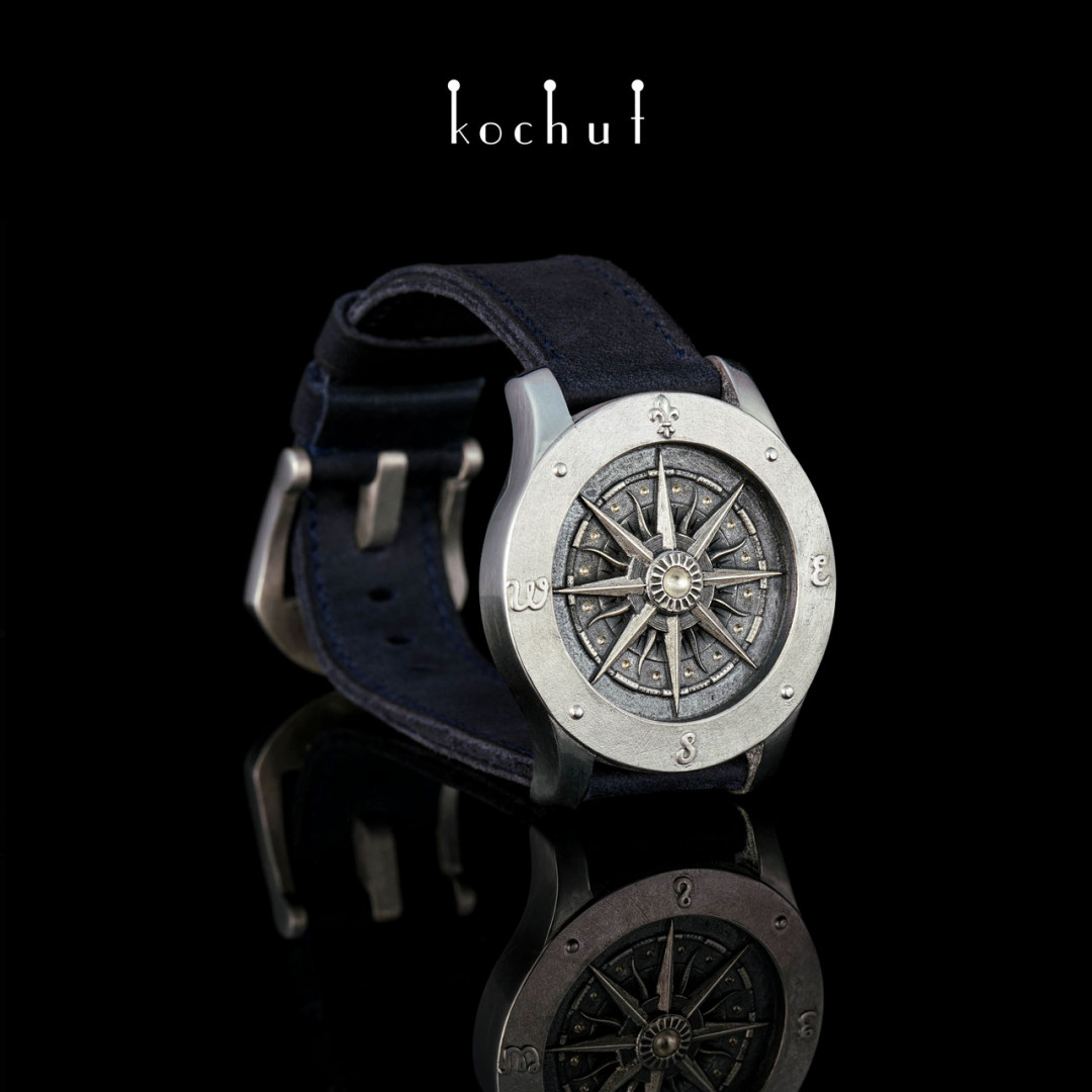Stylized bracelet «Compass». Silver, oxidation, white rhodium, leather strap