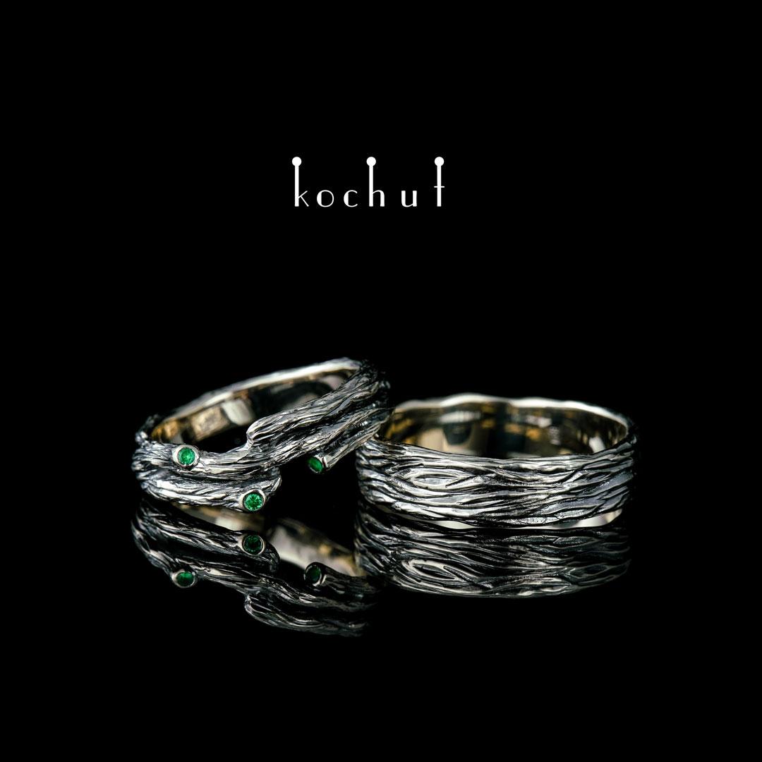 Wedding rings «Tree and its twig.» White gold, emerald, black rhodium