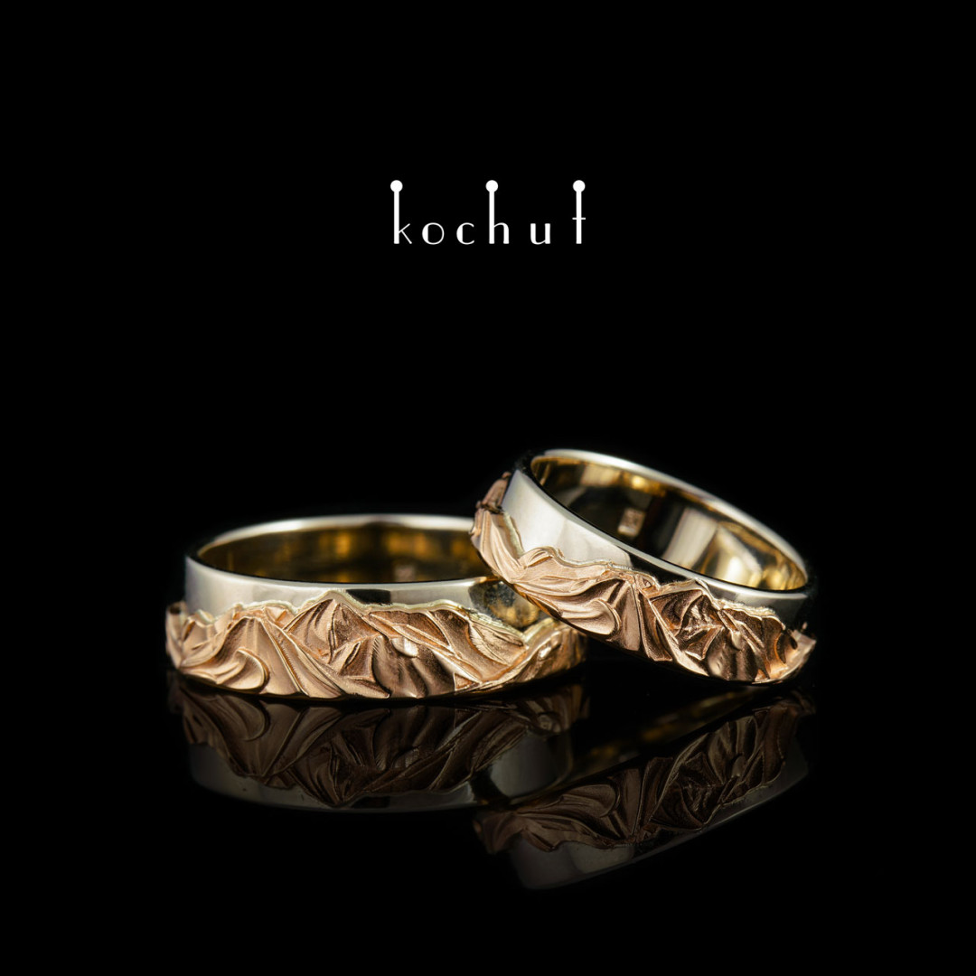 Wedding rings «Tops ofLove». Red and white gold