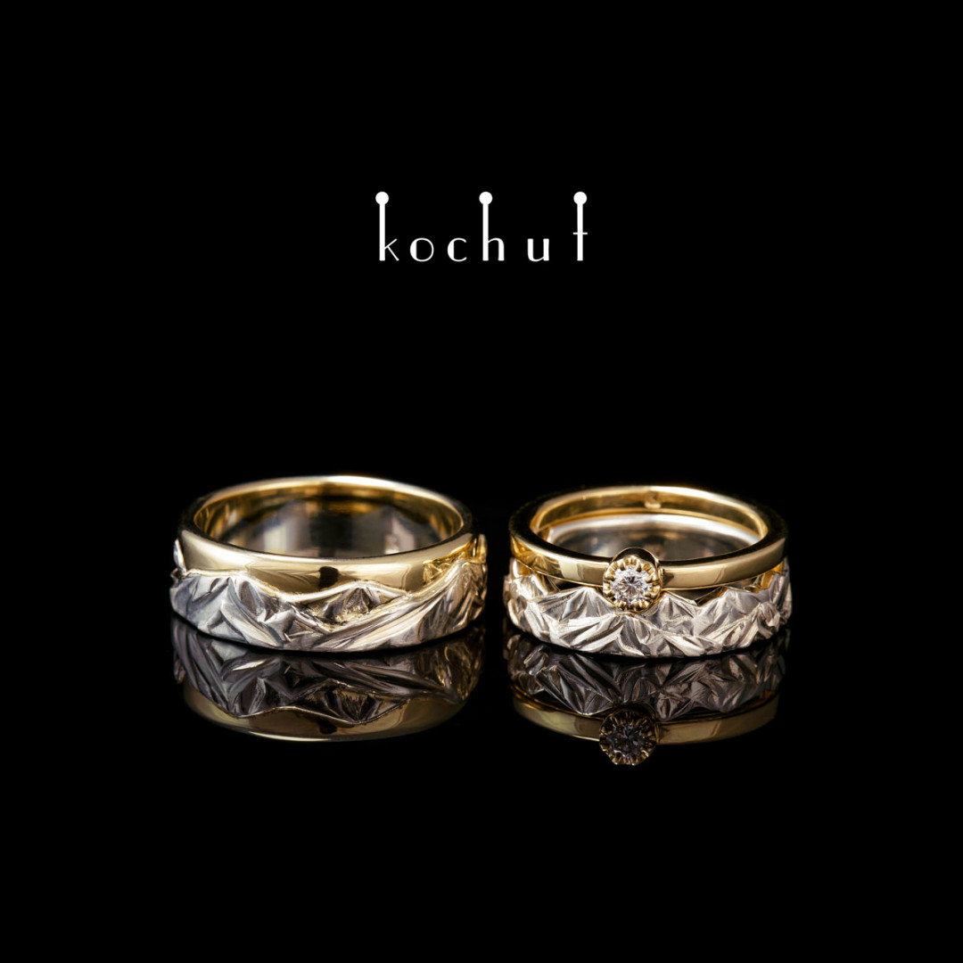Set: proposal ring and wedding rings «Tops of love». Silver and yellow gold, diamond