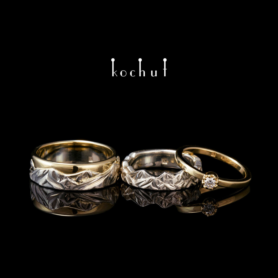 Peaks of Love — set of wedding rings and rings for the proposal.