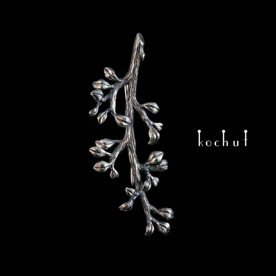 Brooch «Twig.» Silver, oxidation