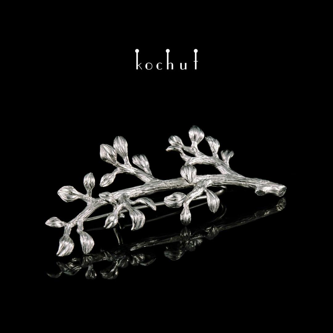 Brooch «Twig.» Silver, white rhodium