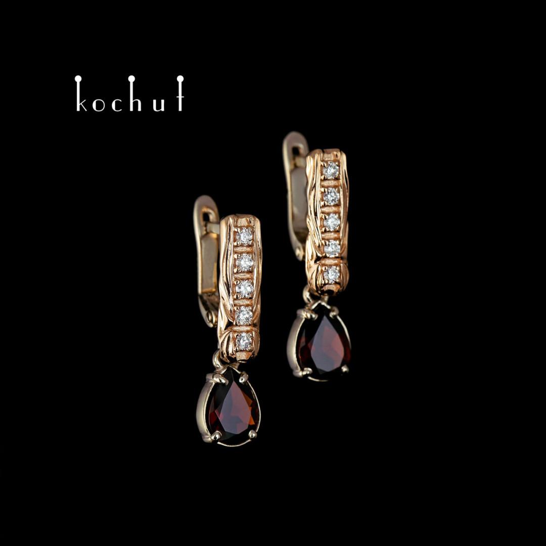 Earrings «Tears ofjoy.» Red and white gold, garnet, diamonds