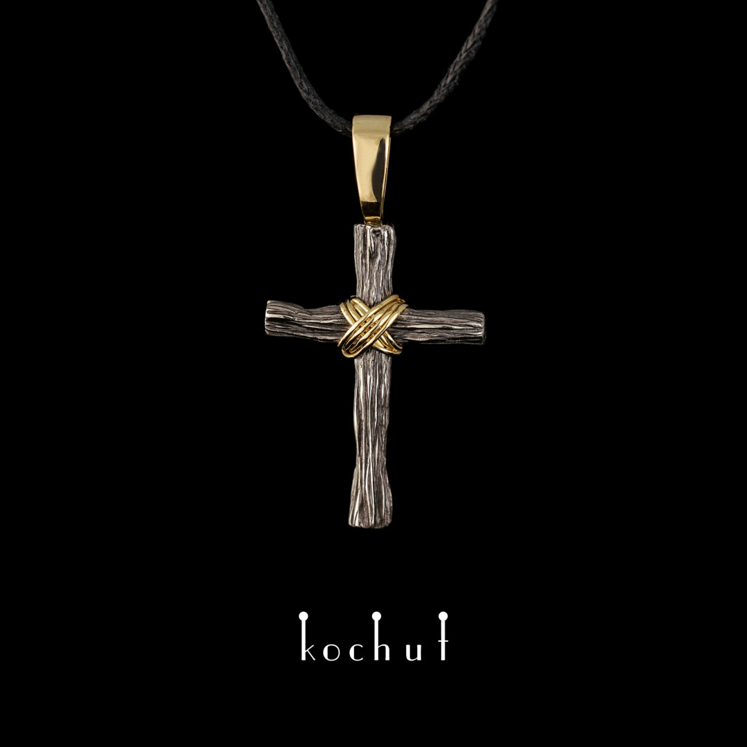 Cross «Humility» with an eye. Palladium and yellow gold, black rhodium