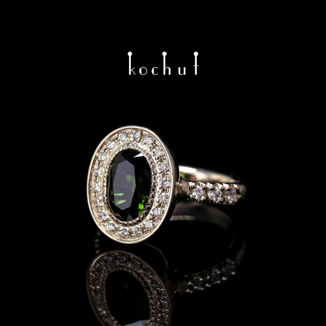 Ring «Dynasty». White gold, tourmaline, diamonds