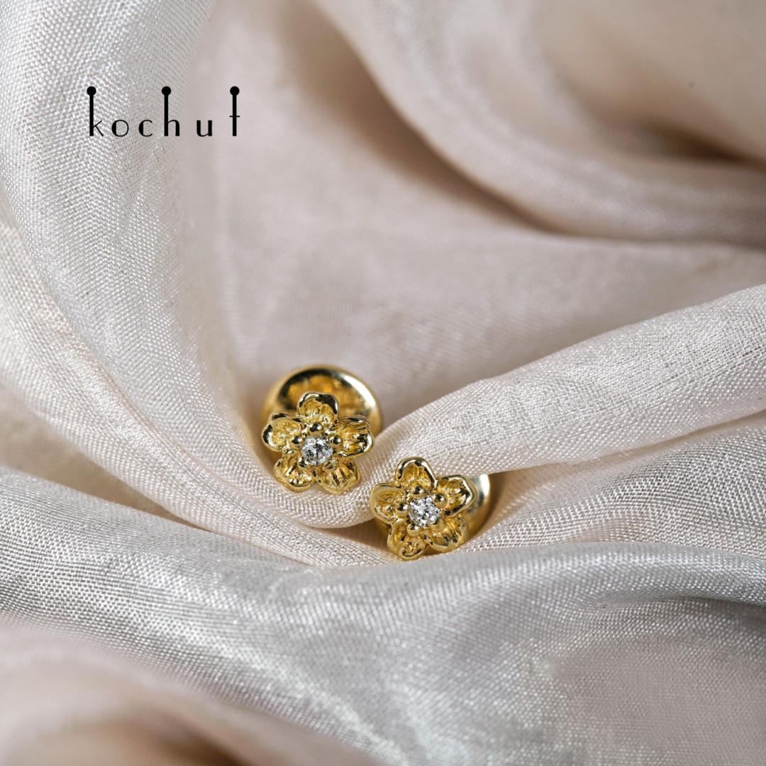 Earrings «Flowers». Yellow gold, diamonds