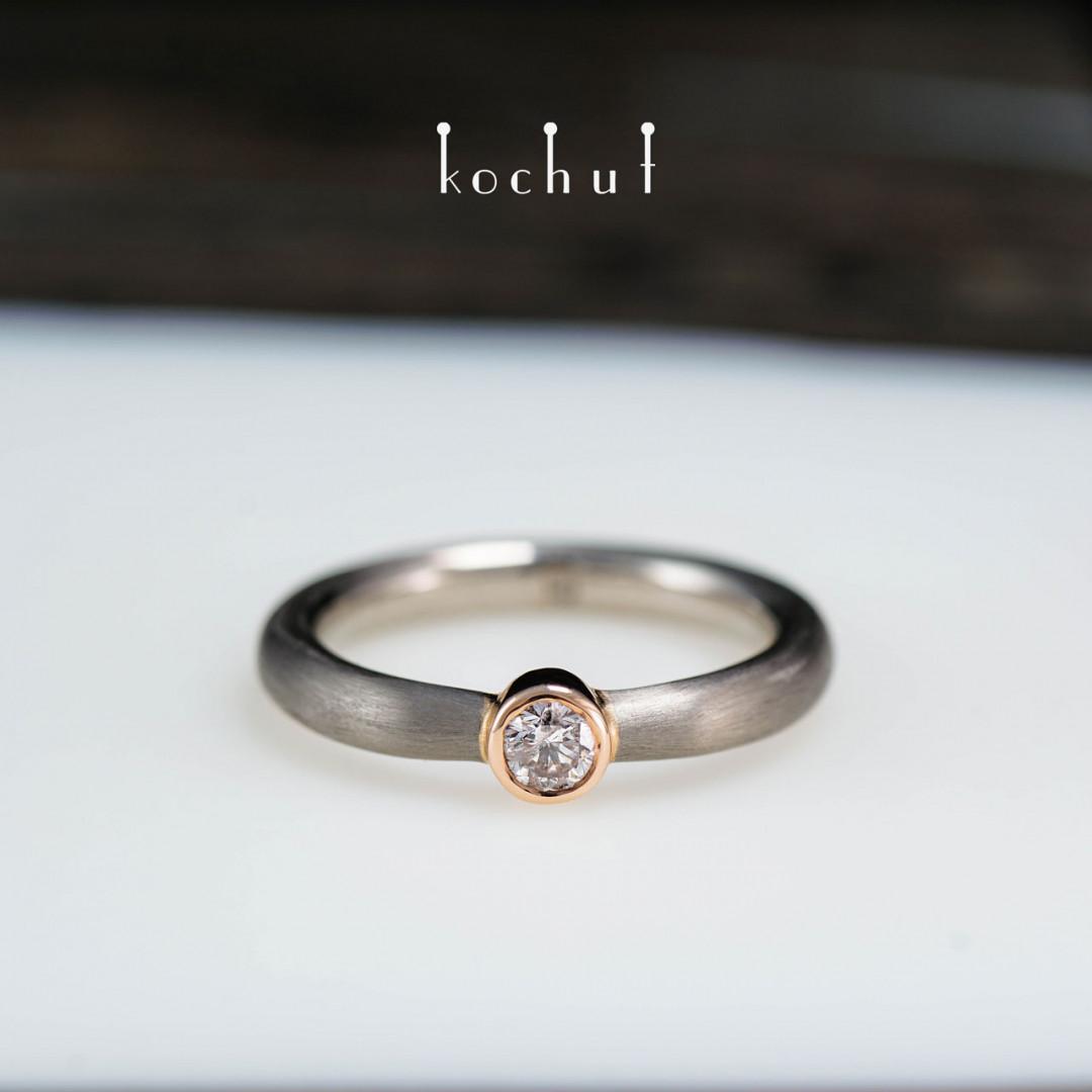 Engagement ring «Cinderella». Palladium and red gold, diamond