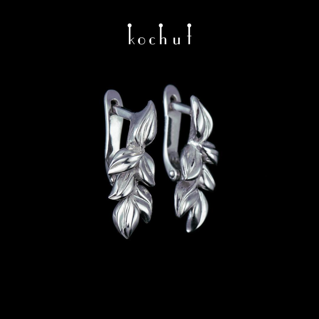 Earrings «Wedding ofnature.» Silver, white rhodium