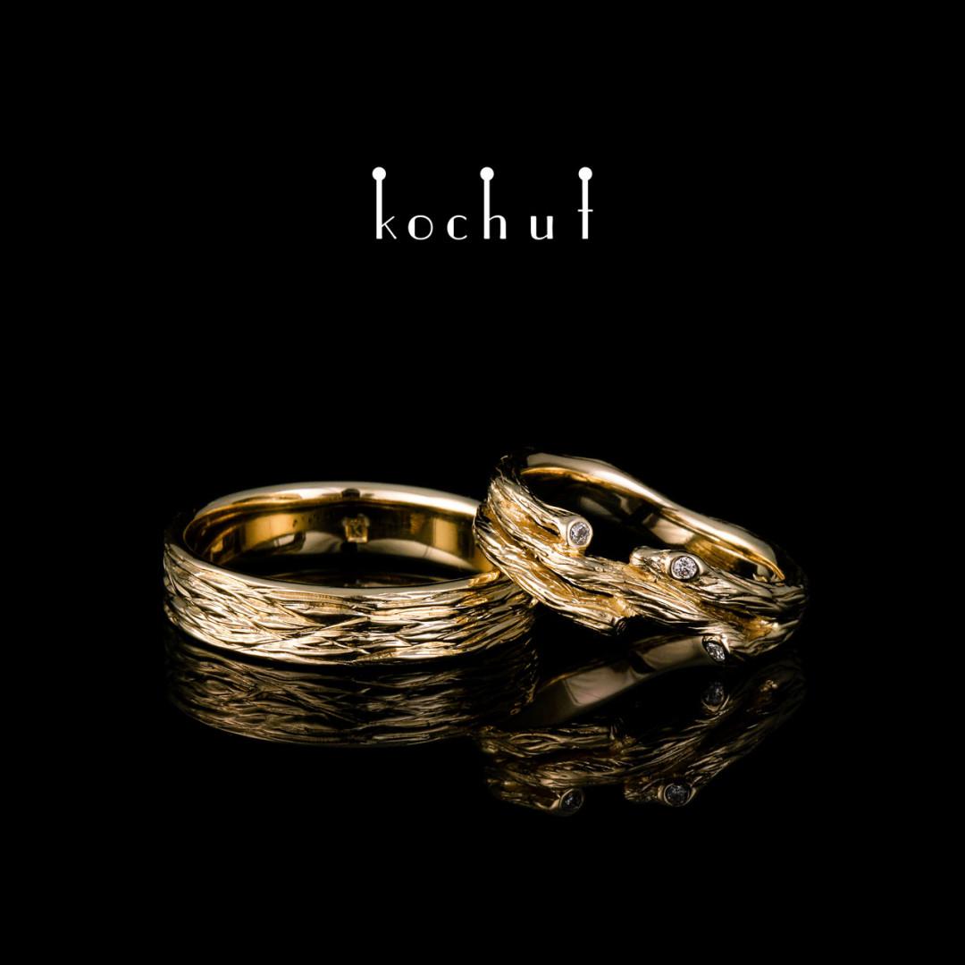 Wedding rings «Tree and its twig». Yellow gold, diamonds
