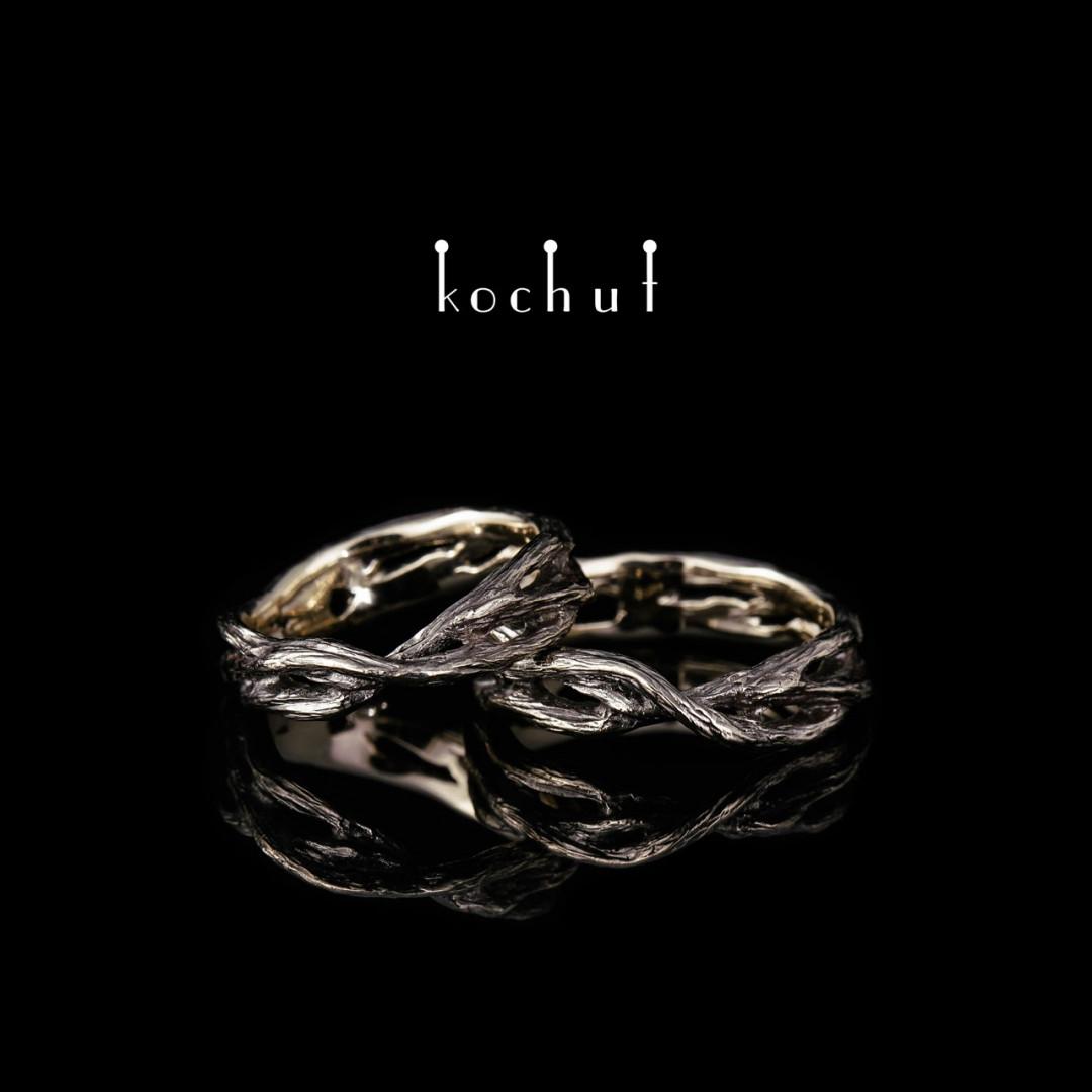 Wedding rings «Forest Mobius strip». White gold, black rhodium