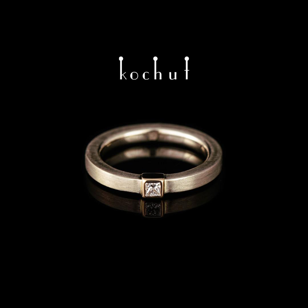 Engagement ring «Universe». Palladium and red gold, diamond
