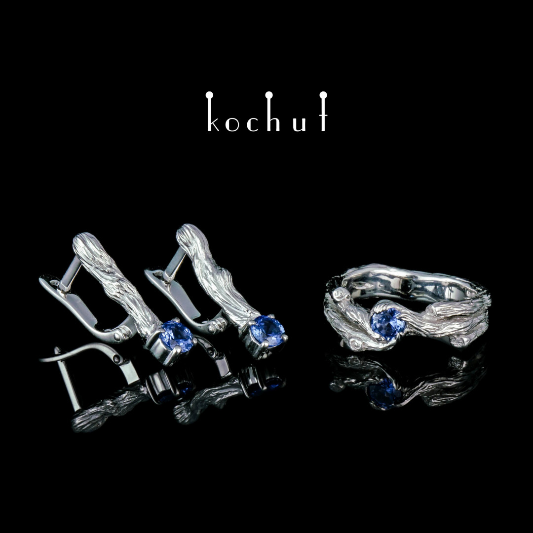 Set «Twig». White gold, white rhodium, sapphires