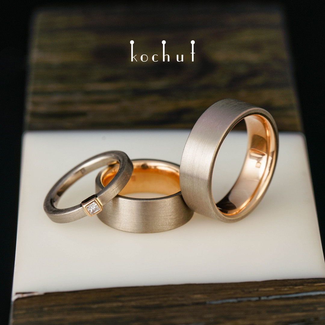Set: proposal ring and wedding rings «Universe». Palladium and red gold, diamond