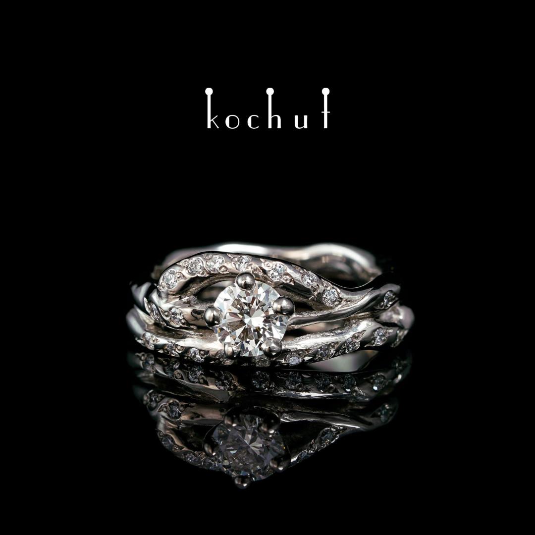 Engagement ring «Cassiopeia». Palladium 18K Gold, diamonds