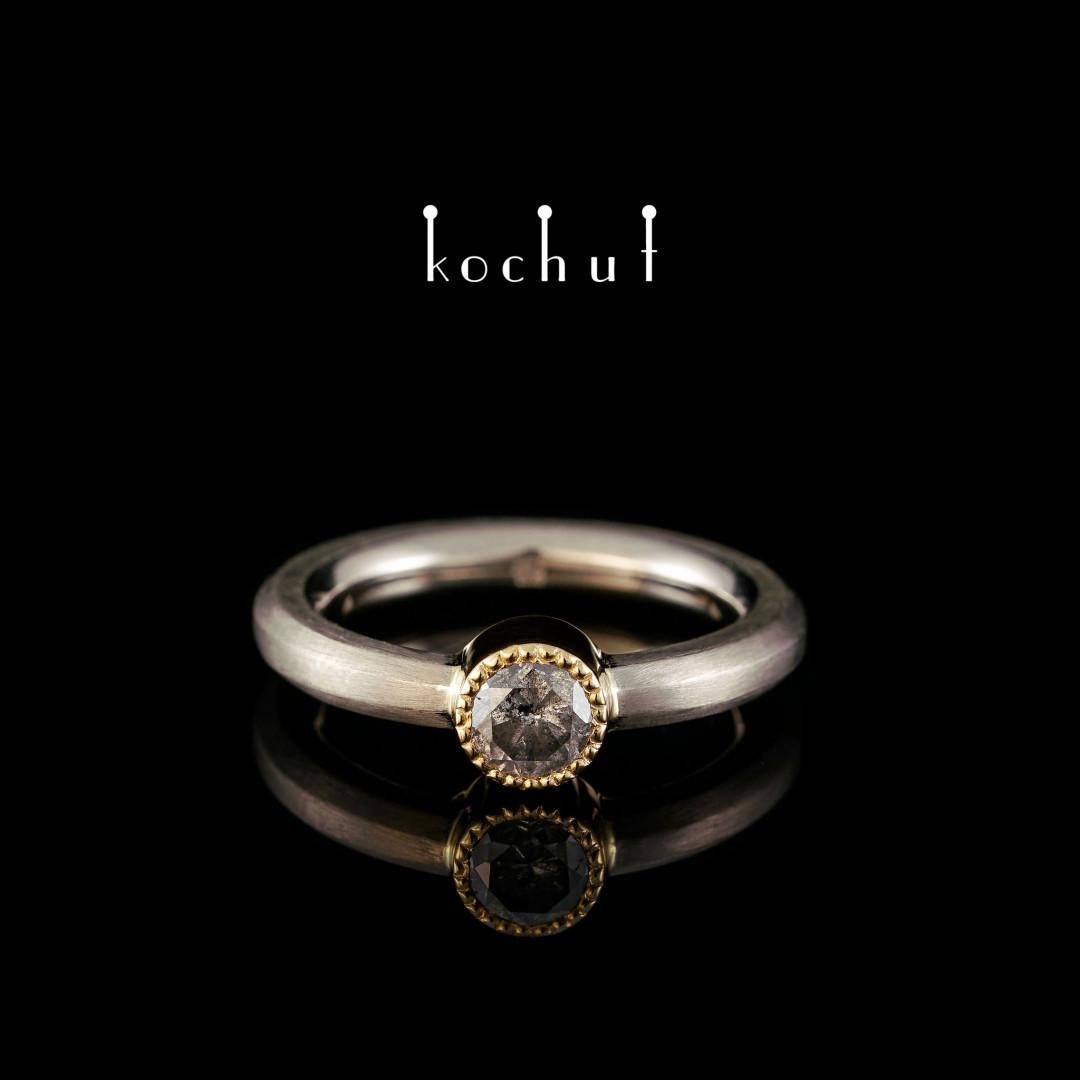 Engagement ring «Cinderella». Palladium and yellow 18K gold, grey diamond