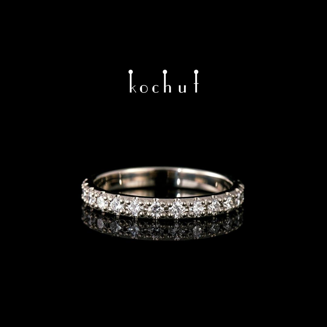 Engagement ring «My orbit». Palladium gold, diamonds