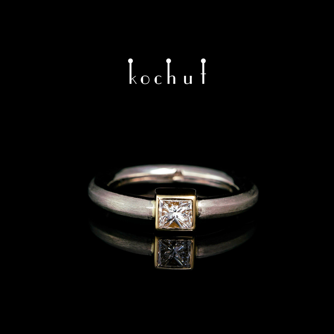 Engagement ring «Cinderella».Palladium and yellow 18K gold, princess cut diamond