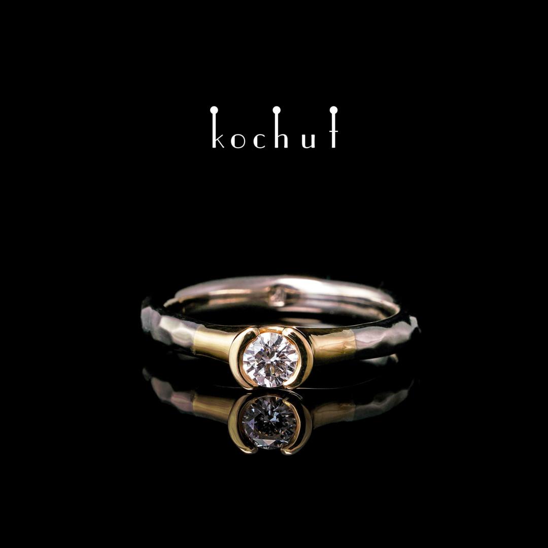 Engagement ring «Absolute». Palladium and yellow 18K gold, diamond