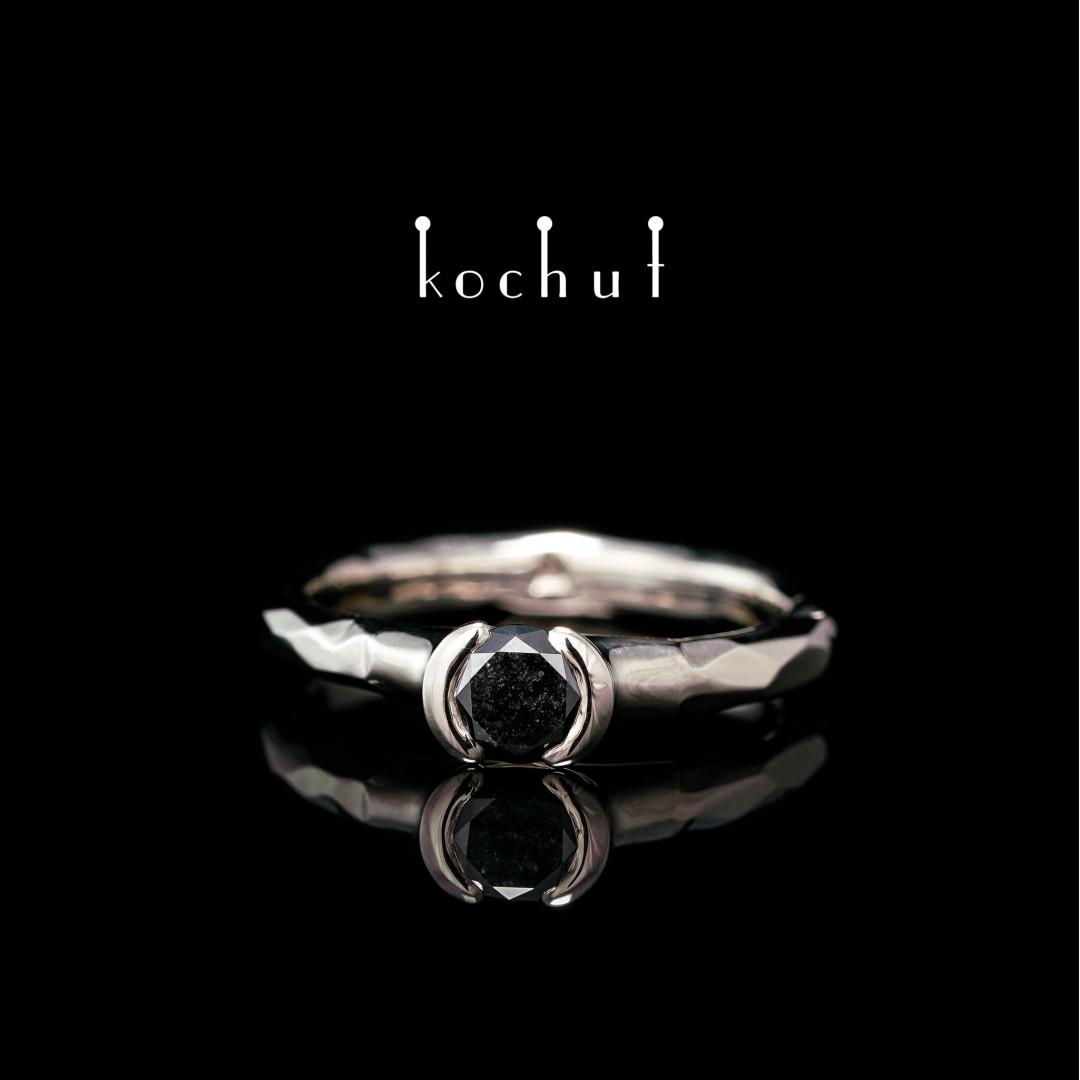 Engagement ring «Absolute». Palladium 18K Gold, black diamond