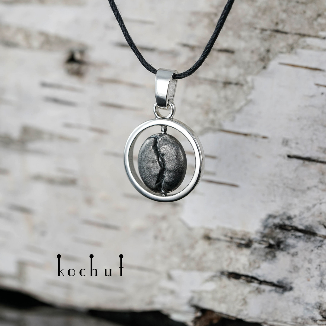 Coffee bean — silver pendant with oxidation coating
