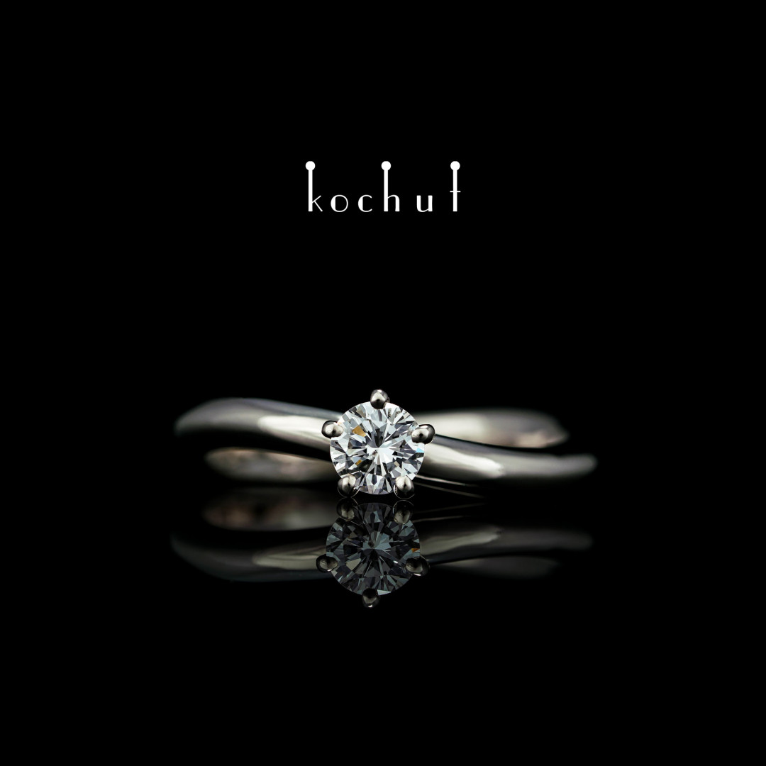 Engagement ring «Infinity». White gold, diamond