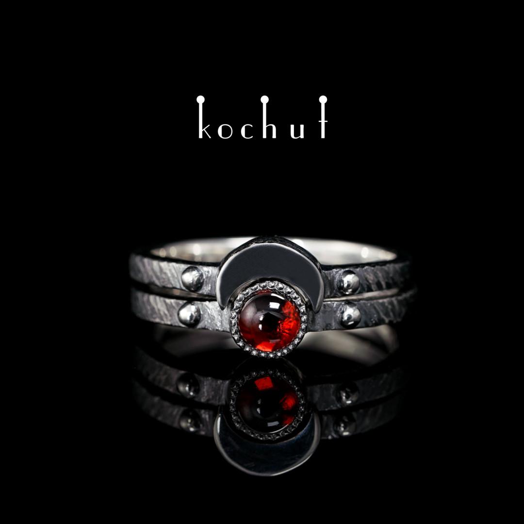 Double ring «Moon duet». Silver, garnet, oxidation