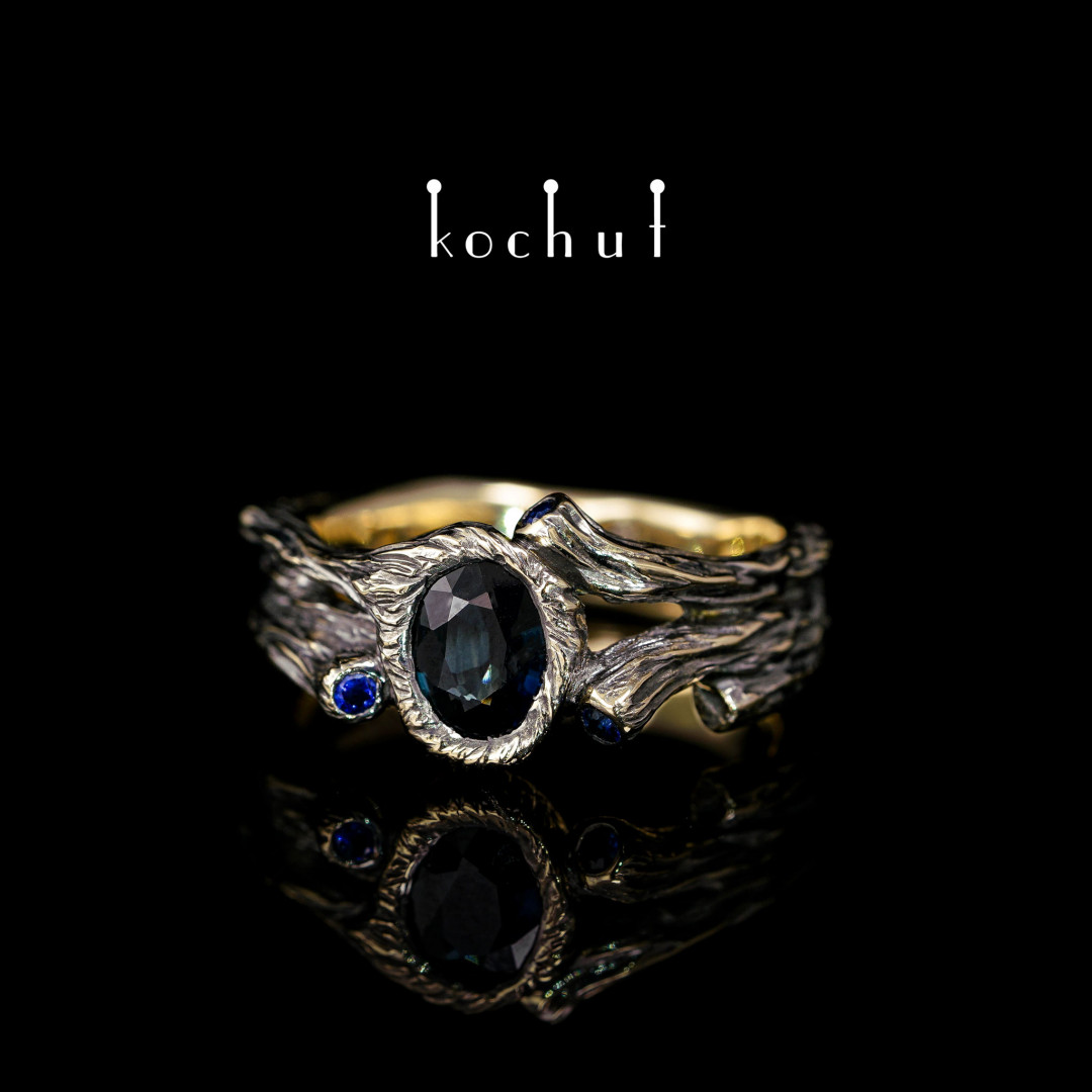 Ring «Sweet fruit». Gold, black rhodium, sapphires