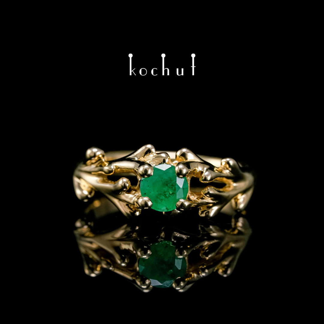 Engagement ring «Spruce twig». Yellow gold, emerald