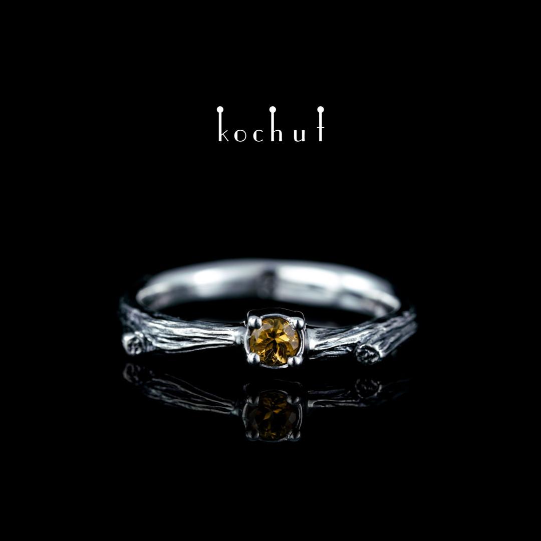 Ring «Fragile twig». Silver, oxidation, citrine