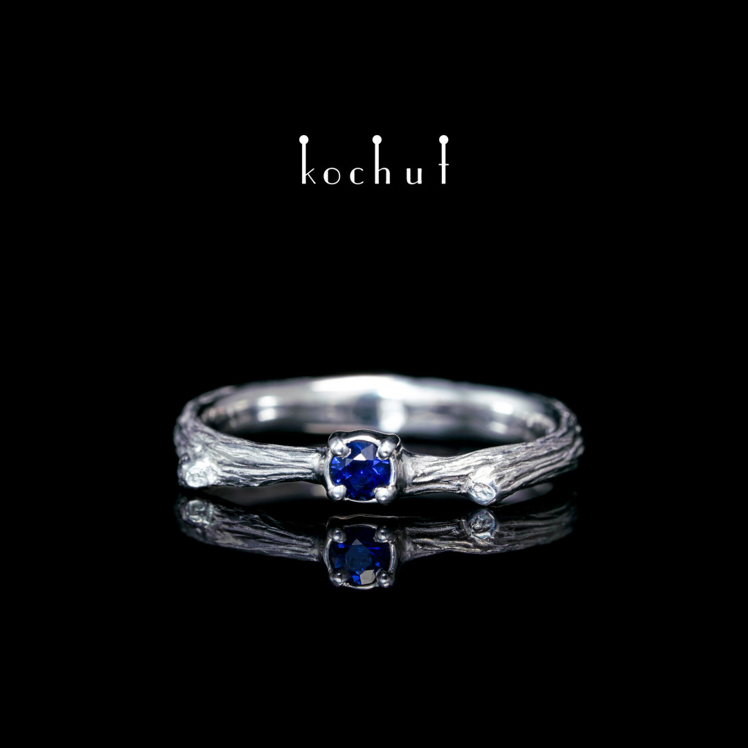 Ring «Fragile twig». Silver, white rhodium, sapphire