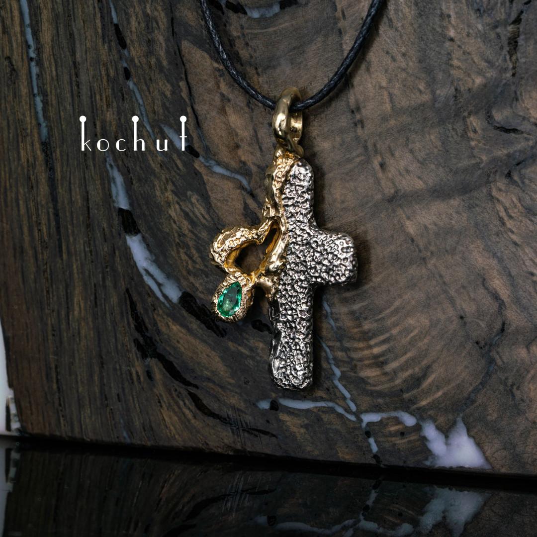 Cross «Open Heart». Silver, Yellow Gold, Emerald