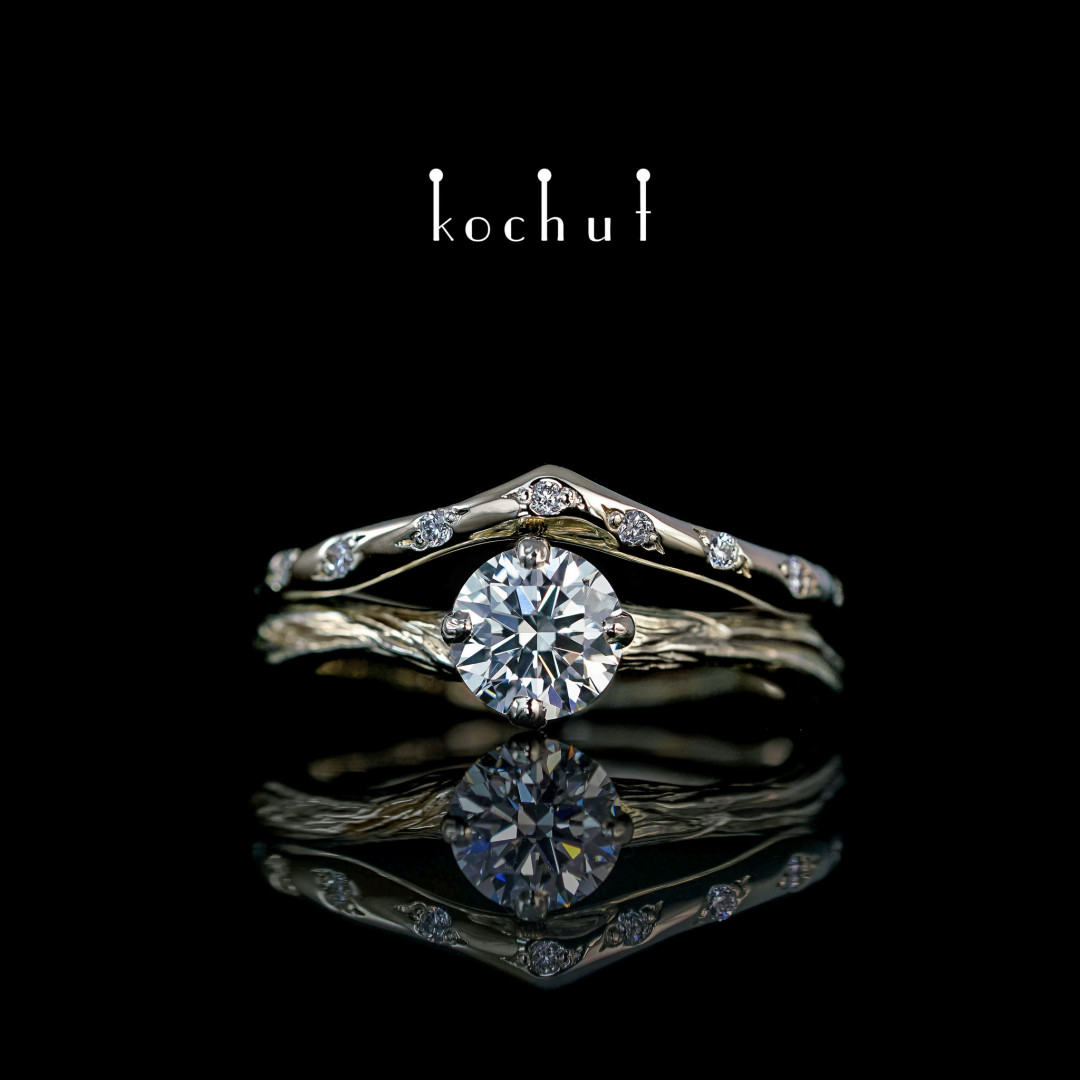 Double engagement ring «Elven tenderness.» White gold, diamonds