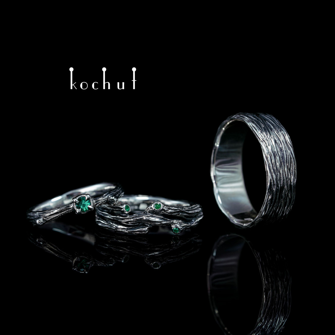 Tree and its twig — a set of silver jewelry with emeralds