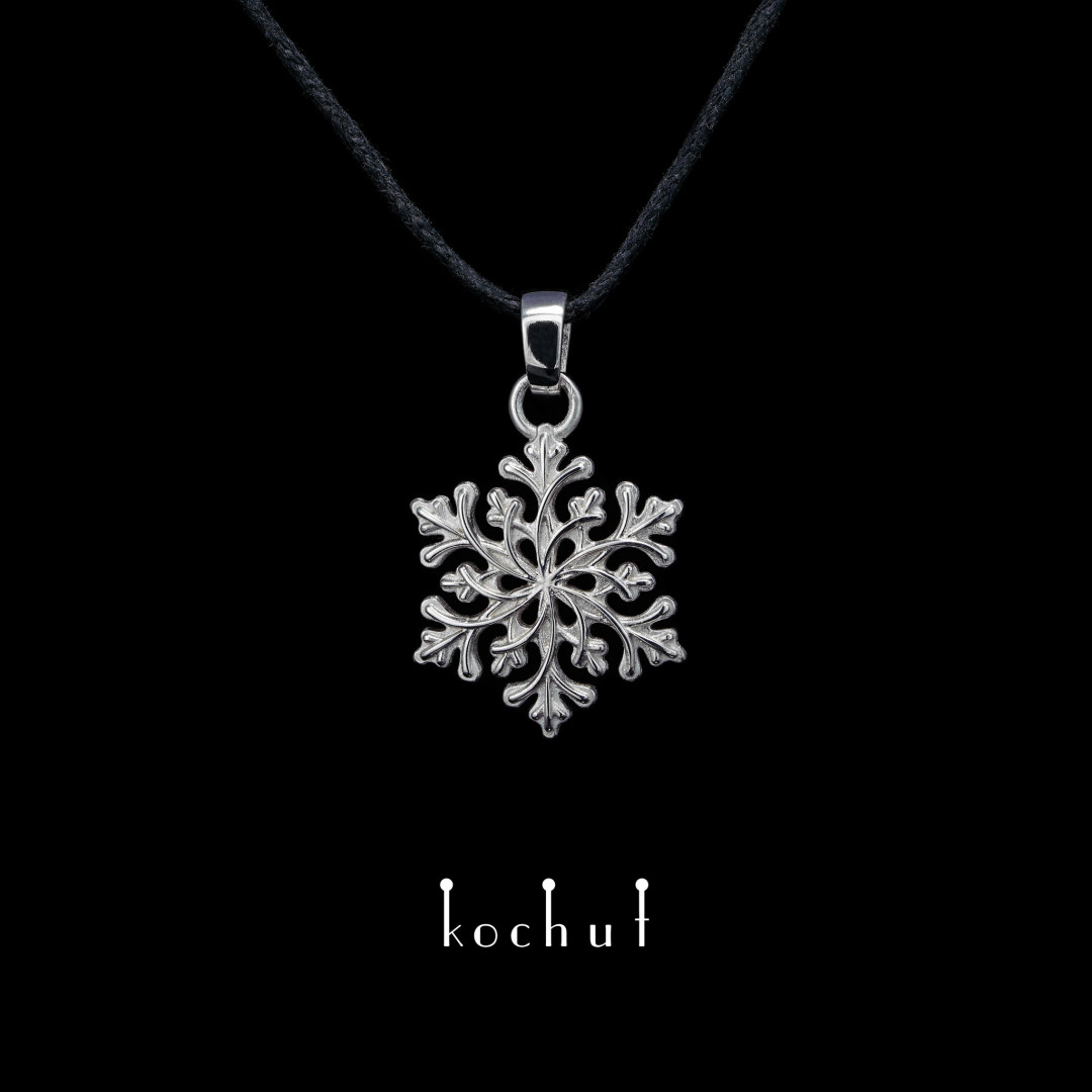Pendant «The touch of Gerda». Silver, white rhodium