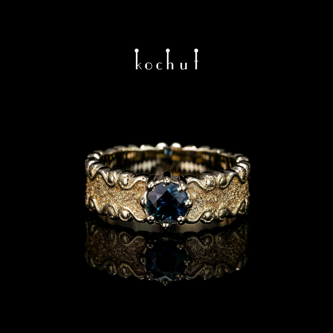 Ring «Marquis». White and yellow gold, sapphire