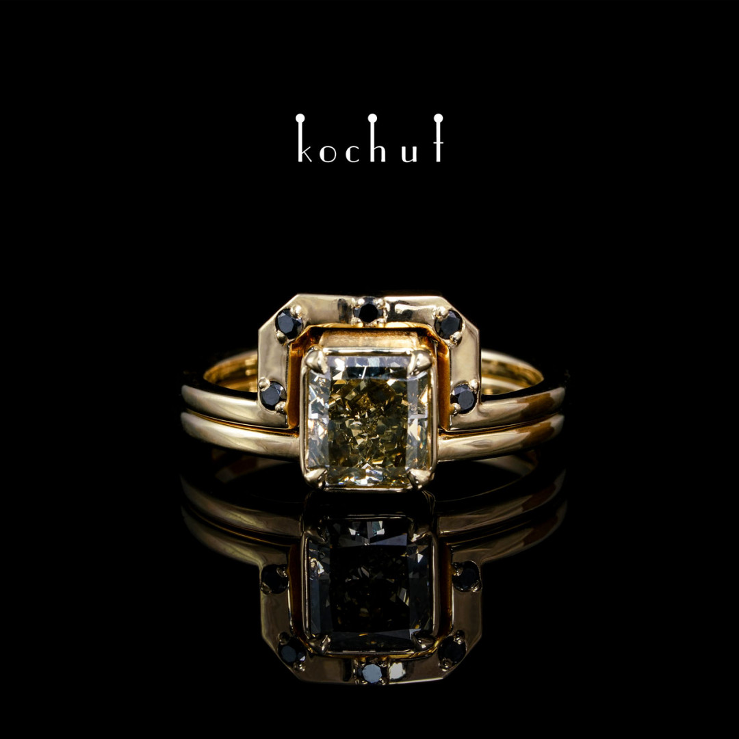 Double ring «And the sun rises». Yellow 18K gold, diamonds