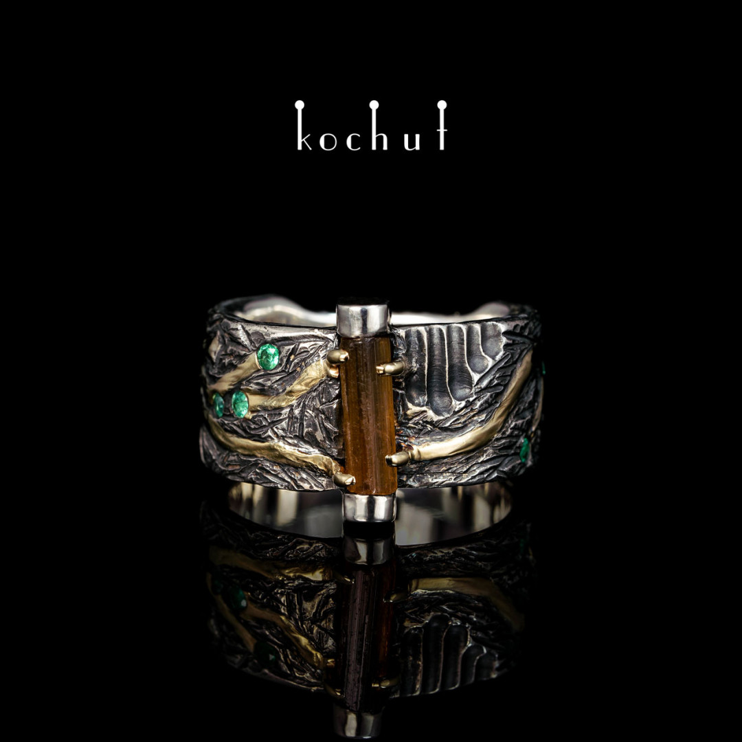 Ring «Mystery of the Ages». Silver, yellow gold, oxidation, yellow tourmaline, emeralds