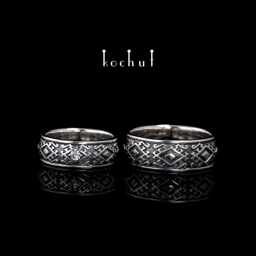 Wedding rings «Hutsul». Silver, diamond, oxidation