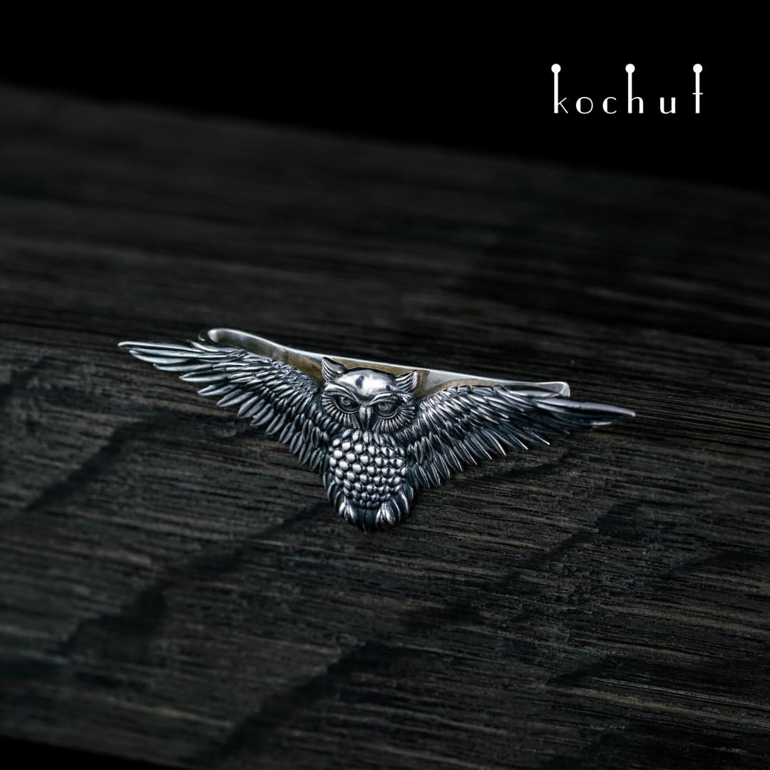 Tie clip «Owl». Silver, oxidation