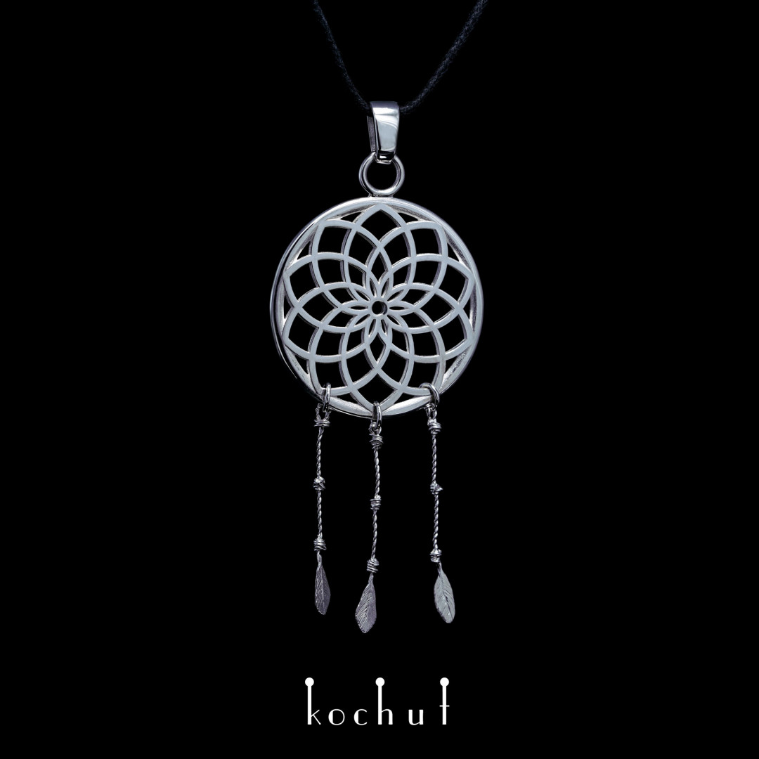 Pendant «Dream catcher with feathers». Silver