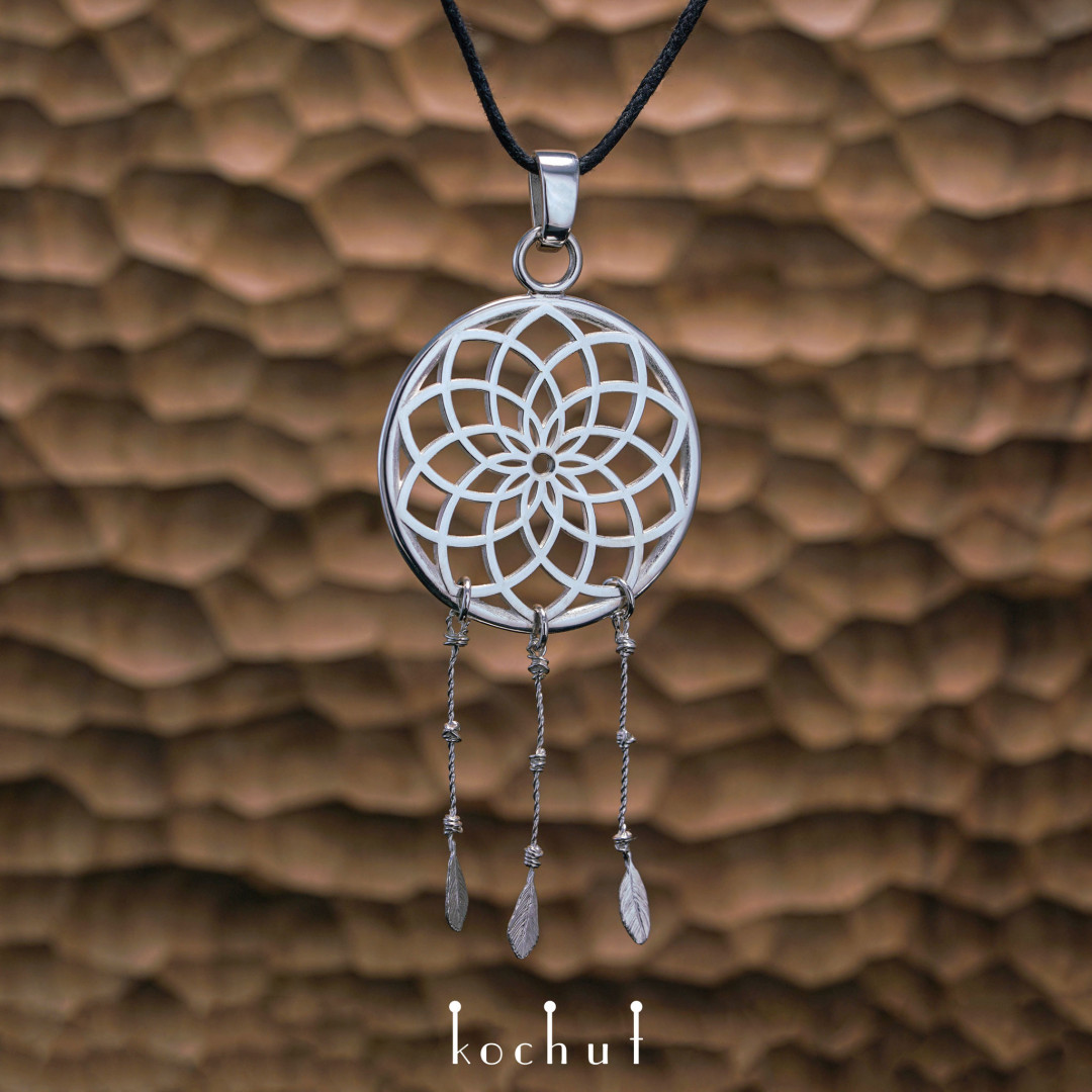 «Dream catcher with feathers»— silver pendant