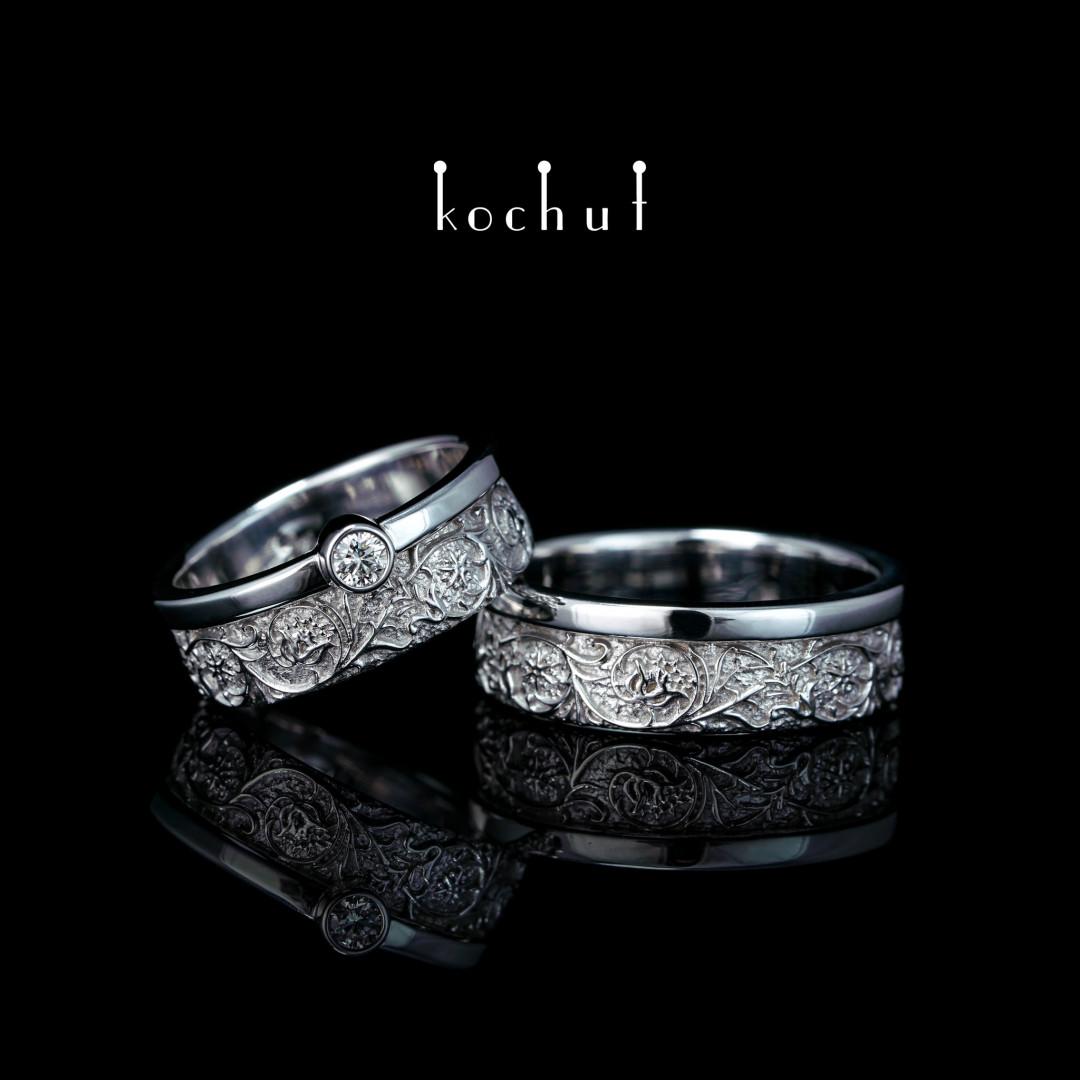 Wedding rings «Harmony of nature.» White gold, diamond, white rhodium