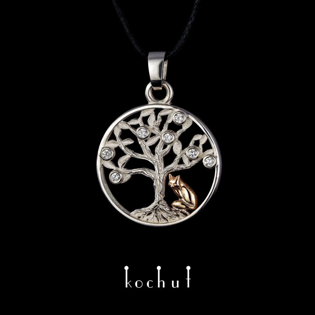 Pendant «Tree of Life with a fox.» Silver, red gold, diamonds