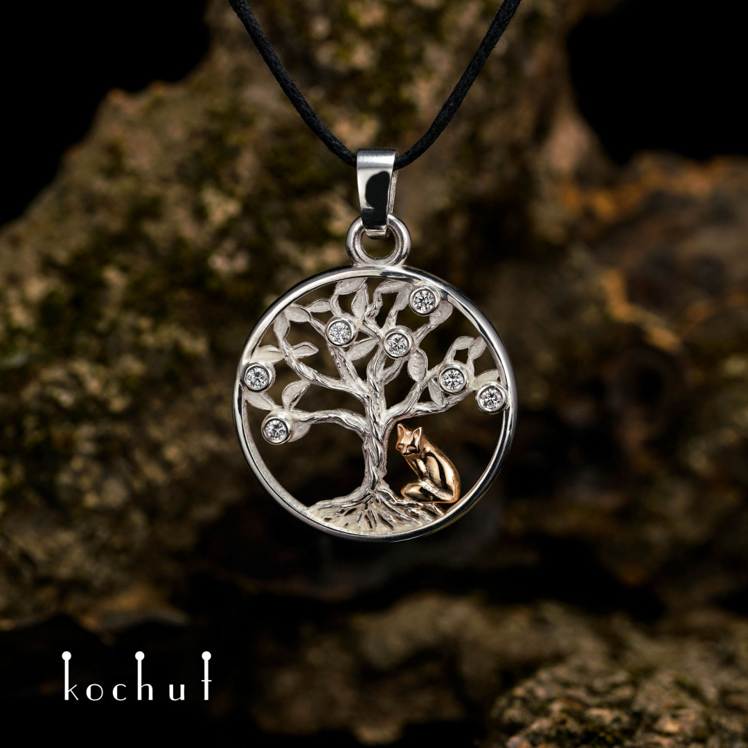 Tree of life with a fox — a silver pendant with diamonds and a golden fox