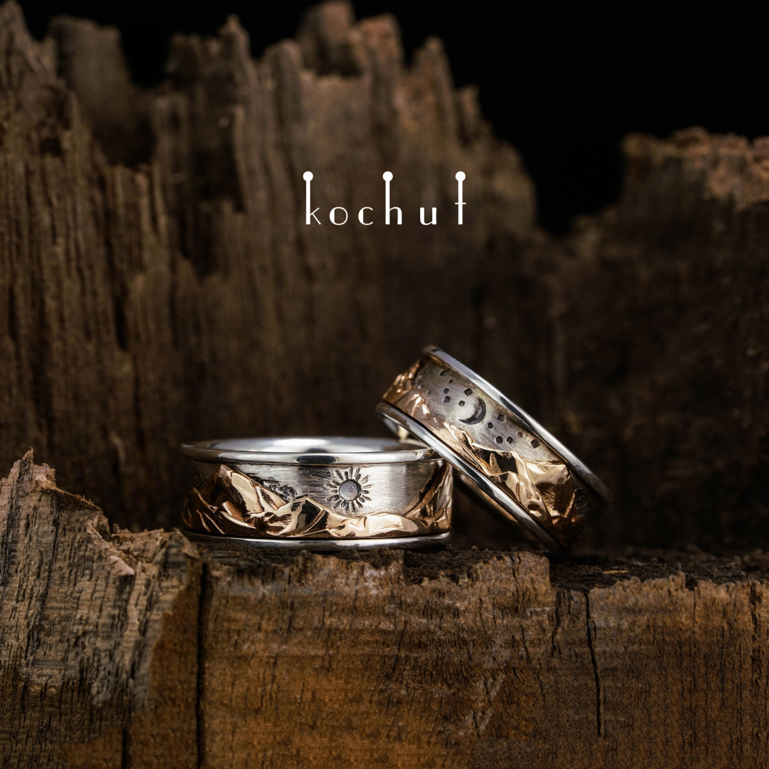 Wedding rings «Tops of love. Kinematic». Silver and red gold, oxidation