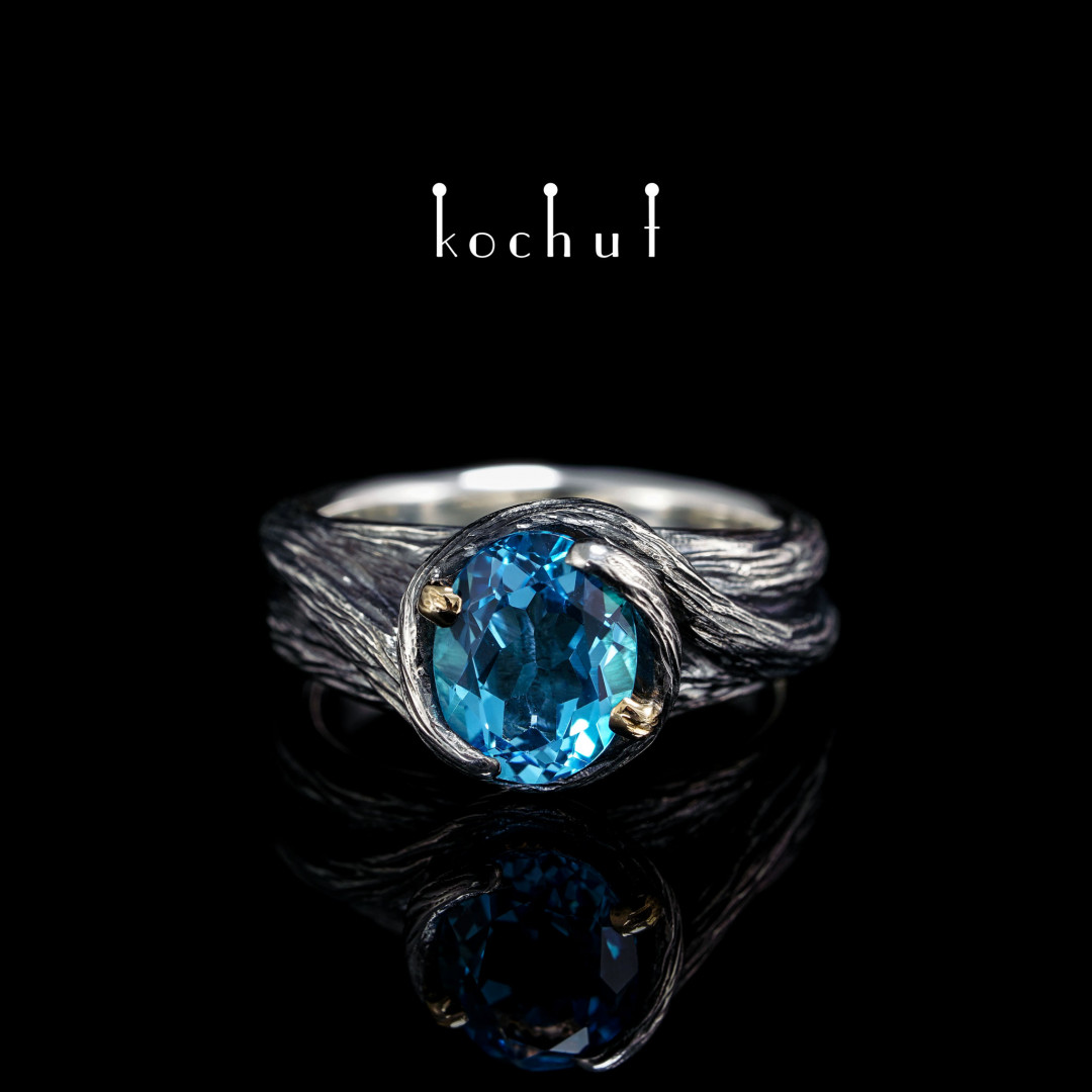 Ring «Patroness ofthe forest». Silver, yellow gold, topaz, oxidation