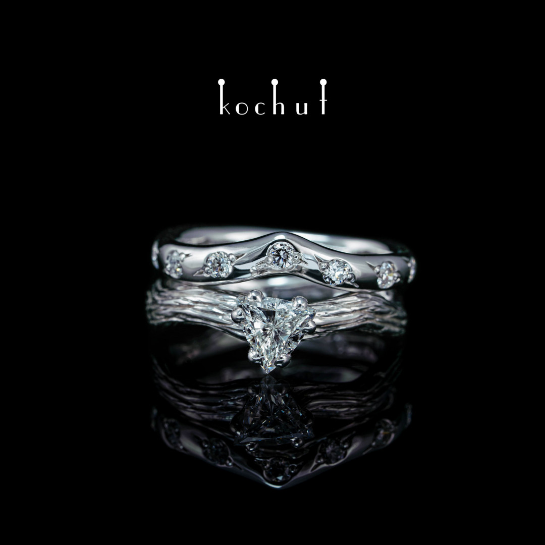 Double ring «Elven tenderness». White gold, diamonds, white rhodium