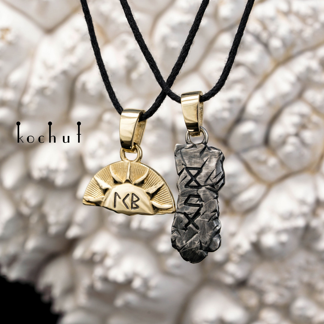 Write me — double pendant made of gold and silver